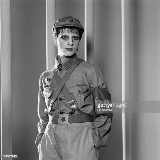 Posed portrait of Mick Karn from Japan during the Tin Drum album photo session in November 1981