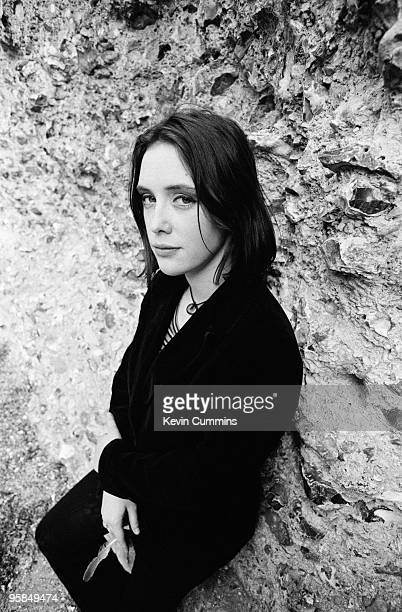 Posed portrait of singer and guitarist Rachel Goswell of British indie band Slowdive in 1992