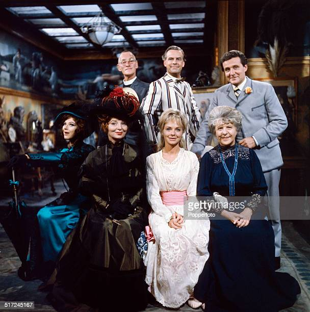 Posed portrait of the cast of the 1964 television dramatisation of Oscar Wilde's play 'The Importance of Being Earnest' From left to right top row...