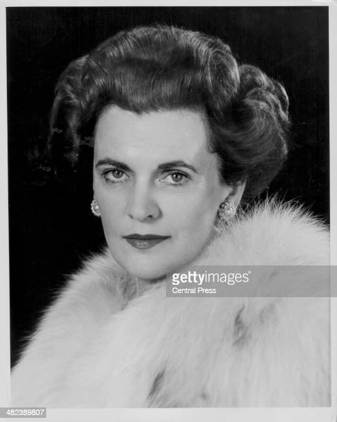 Posed portrait of the Duchess of Argyll wearing a fur coat December 1962