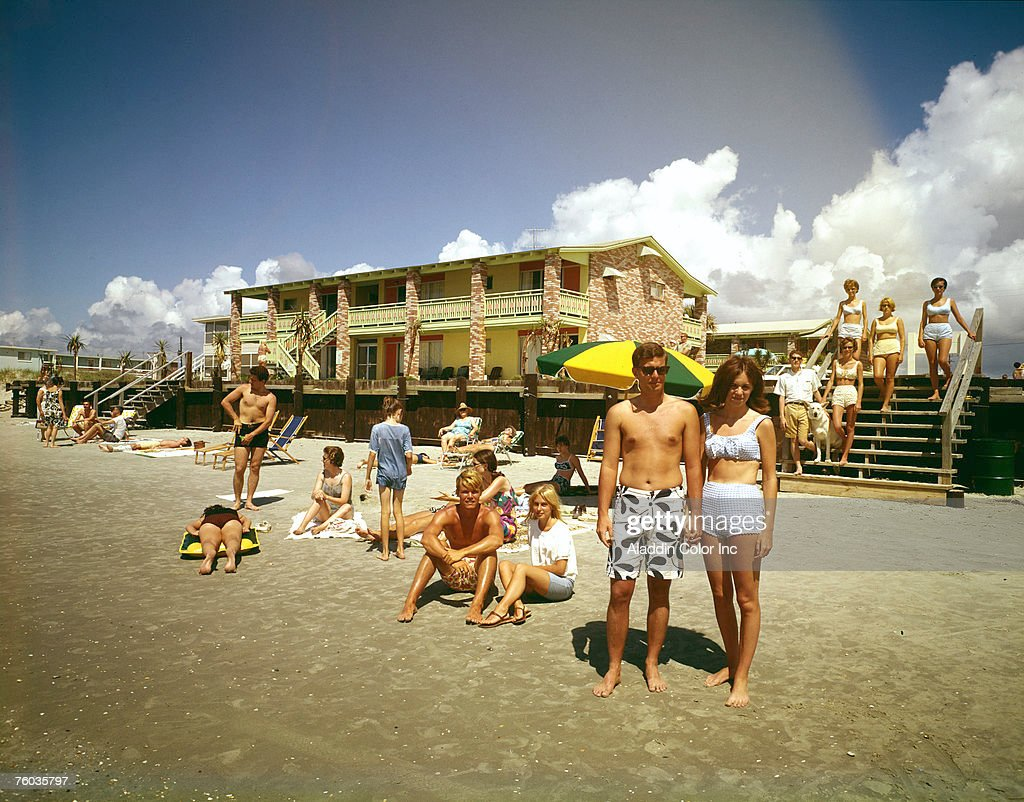 Posed Potrait Of Sunbathers On The Beach In Front Oceanfront Tricia Lyn Motel