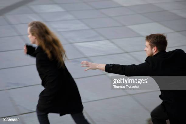 Posed Scene A woman is being persecuted by a man on January 08 2018 in Berlin Germany