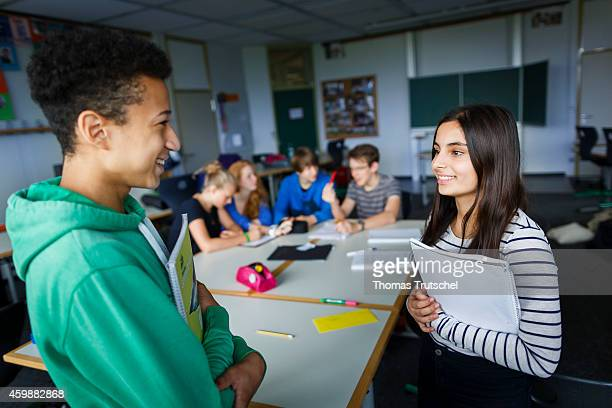 Posed scene group of students learning in a class room at the GeorgChristophLichtenbergGesamtschule IGS Goettingen on September 19 in Goettingen...