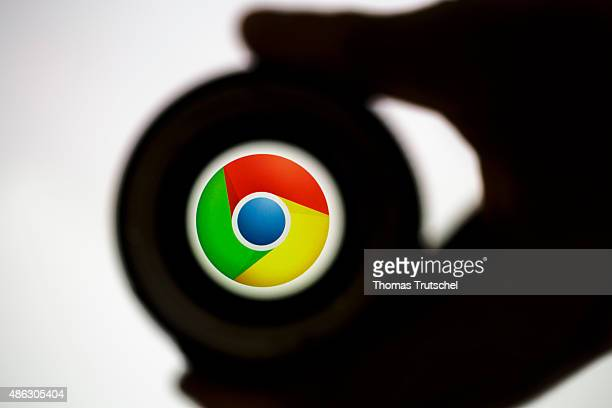 Posed scene on the topic google chrome photo lens in front of the google chrome company logo on September 03 2015 in Berlin Germany Photo by Thomas...