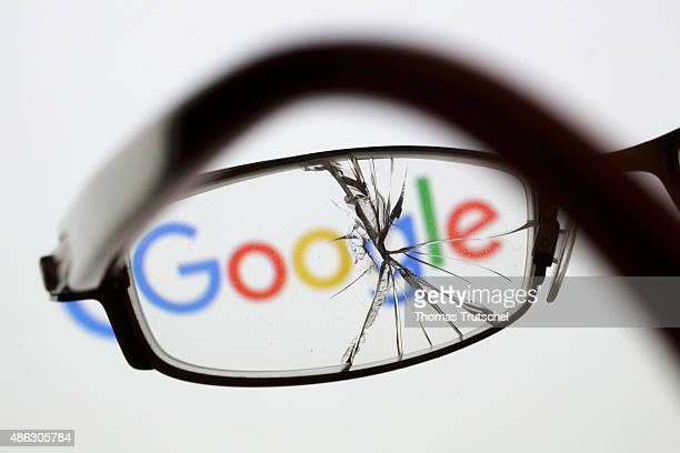 Posed scene on the topic google cracked and broken glasses in front of the google company logo on September 03 2015 in Berlin Germany Photo by Thomas...