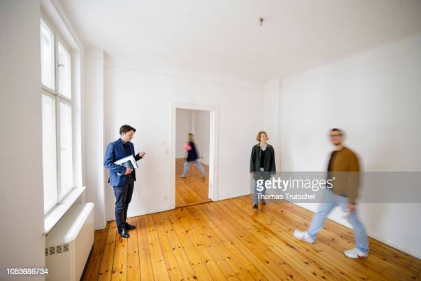 Posed scene on the topic of housing inspection People are looking at a rental apartment on October 25 2018 in Berlin Germany