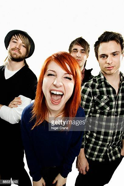 Posed studio group portrait of American rock band Paramore Left to right are Jeremy Davis Hayley Williams Zac Farro and Josh Farro in London on...