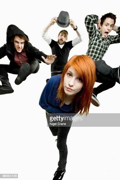 Posed studio group portrait of American rock band Paramore. Left to right are Zac Farro, Hayley Williams , Jeremy Davis and Josh Farro in London on...