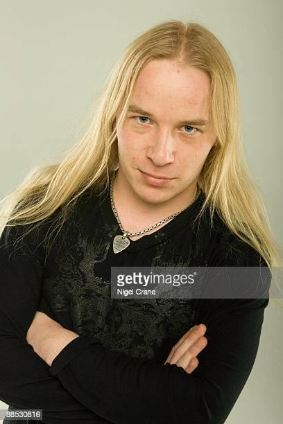 Posed studio portrait of Emppu Vuorinen, guitar player with Finnish metal band Nightwish in London, England on March 25 2008.