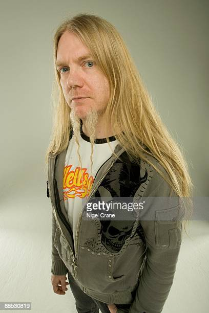 Posed studio portrait of Marco Hietala, bass player with Finnish metal band Nightwish in London, England on March 25 2008.