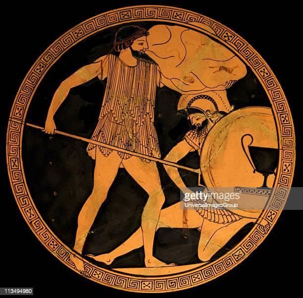 Poseidon fighting Polybotes Tondo of an Attic redfigure kylix ca 475470 BC Found in Vulci Etruria