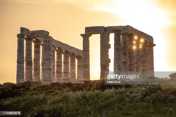 poseidon temple in sounio, greece - disintegration stock photos and pictures