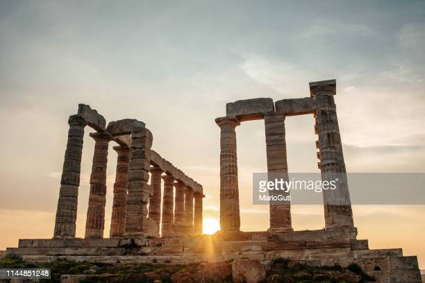 poseidon temple in sounio, greece - greek god stock pictures, royalty-free photos & images