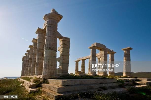 poseidon temple - sunion cape - greece - ポセイドン ストックフォトと画像