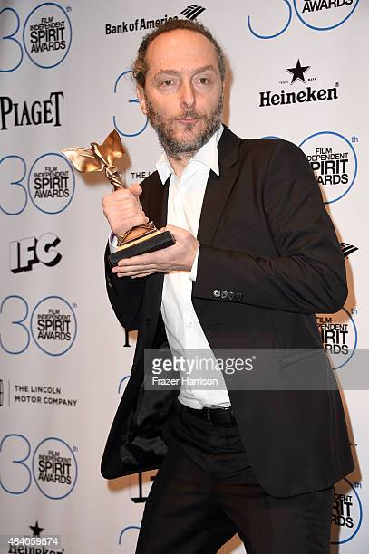 """Poses Cinematographer Emmanuel Lubezki, winner of the Best Cinematography Award for """"Birdman,"""" in the press room during the 2015 Film Independent..."""