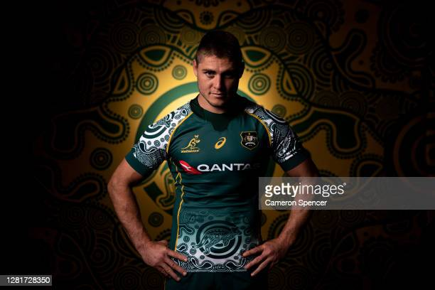XXX poses during the Australian Wallabies 2020 First Nations Jersey portrait session on October 22 2020 in the Hunter Valley Australia The First...
