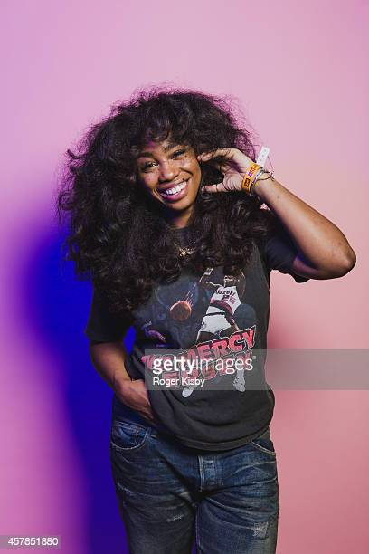 SZA poses for a poratrit backstage during Day 2 of the Fader Fort presented by Converse at Converse Rubber Tracks Studio on October 24 2014 in...