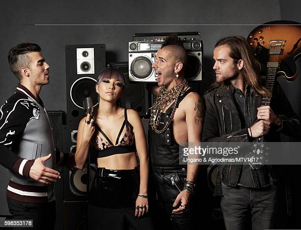 Joe Jonas JinJoo Lee Cole Whittle and Jack Lawless poses for a portrait at the 2016 MTV Video Music Awards at Madison Square Garden on August 28 2016...