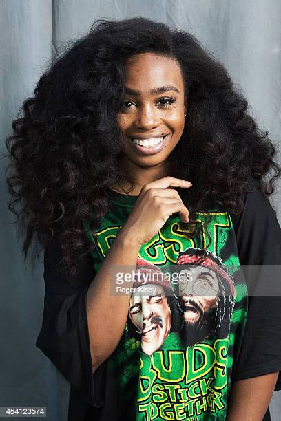 SZA poses for a portrait backstage during day 2 of the AFROPUNK festival at Commodore Barry Park on August 24 2014 in Brooklyn New York