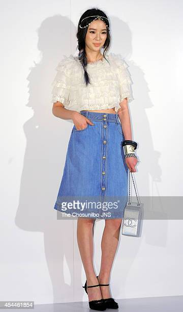 IRENE poses for photographs during the Culture Chanel 'The Sense of Places' opening event at DDP on August 29 2014 in Seoul South Korea