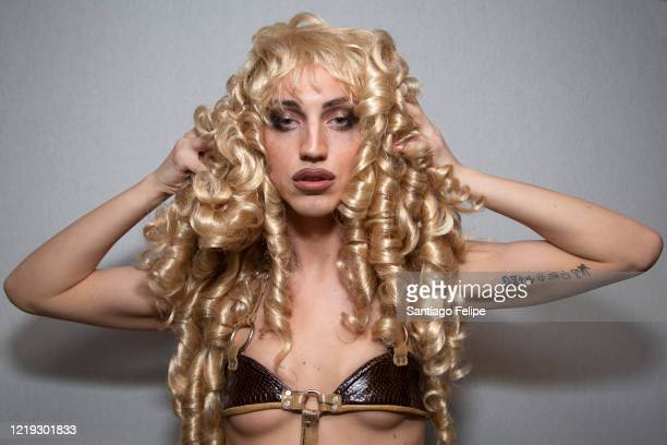 LINUX poses for photos while she hosts Susanne Bartsch's 'ONTOP' ONLINE at home via ZOOM on April 16 2020 in New York City