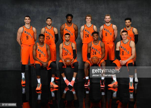 poses for portraits before the Mountain Dew Kickstart Rising Stars Game during AllStar Friday Night as part of 2018 NBA AllStar Weekend at the...
