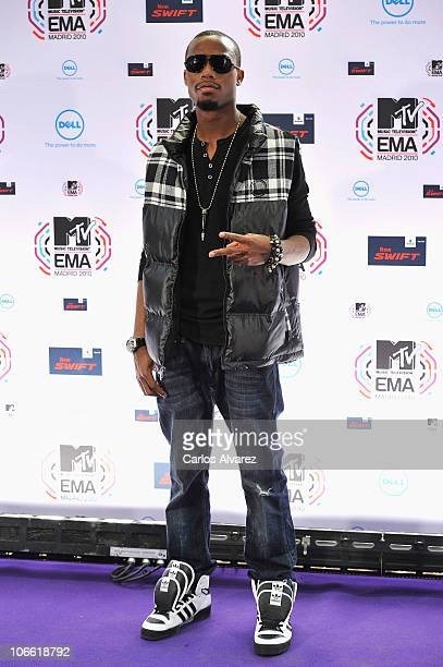 B poses in front of the media boards at the MTV Europe Music Awards 2010 at La Caja Magica on November 7 2010 in Madrid Spain