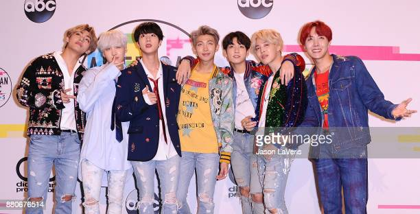 BTS poses in the press room at the 2017 American Music Awards at Microsoft Theater on November 19 2017 in Los Angeles California