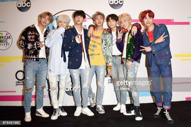 BTS poses in the press room during 2017 American Music Awards at Microsoft Theater on November 19 2017 in Los Angeles California