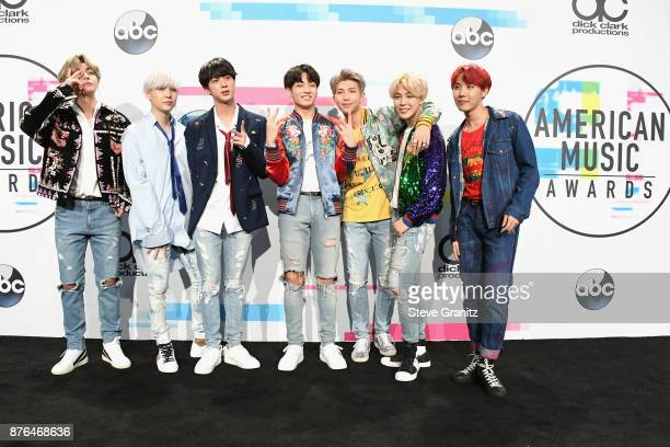 BTS poses in the press room during the 2017 American Music Awards at Microsoft Theater on November 19 2017 in Los Angeles California