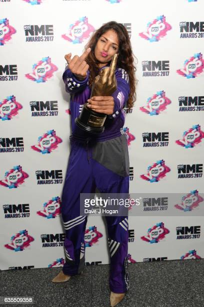 MIA poses with her award for Best British Female Artist in the winners room at the VO5 NME Awards 2017 at The O2 Academy Brixton on February 15 2017...
