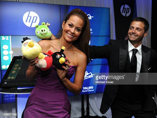 poses with HP in the HP Touchsmart Gift Lounge backstage at the Nokia Theatre in celebration of The 63rd Primetime Emmy Awards produced by On 3...