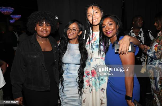Poses with Joi Brown and Joi's daughters Sydney and Kennedy at the Culture Creators Innovators & Leaders Awards at The Beverly Hilton on June 26,...