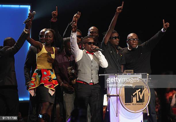 poses with the Best New Act Award at the MTV Africa Music Awards with Zain at the Moi International Sports Centre on October 10 2009 in Nairobi Kenya