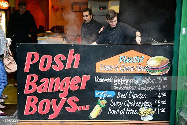 Posh banger boys at Borough Market
