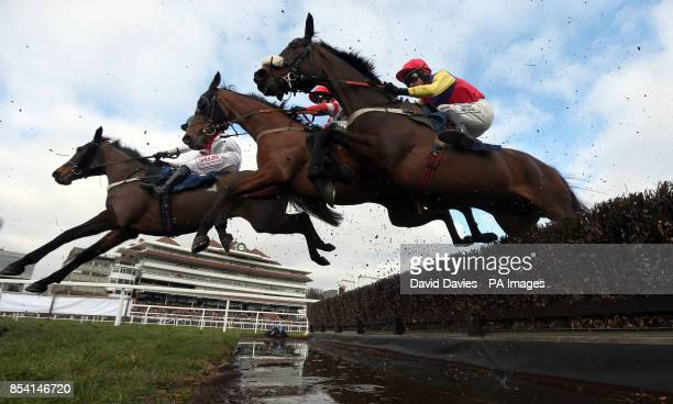 Posh Bird ridden by Henry Brooke Michel Le Bon ridden by Daryl Jacob and Hey Big Spender ridden by Joe Tizzard in the Barbury International...