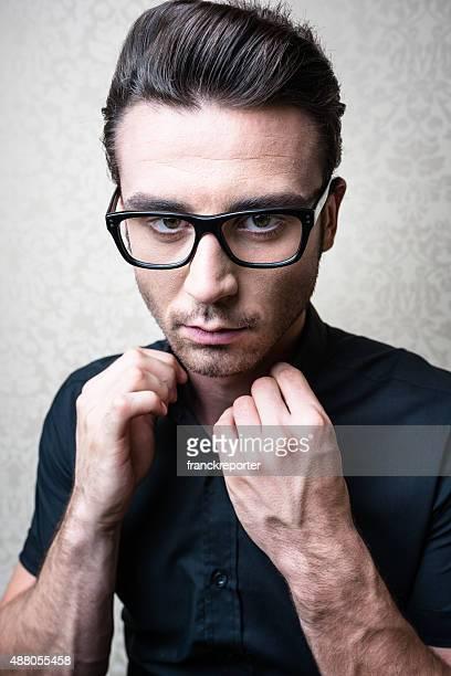 posh nerd fashion man portrait