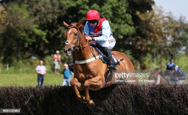 Posh Totty ridden by Bryony Frost jump the last to win The Michael Plant Memorial Novices' Handicap Steeplechase at Uttoxeter Racecourse