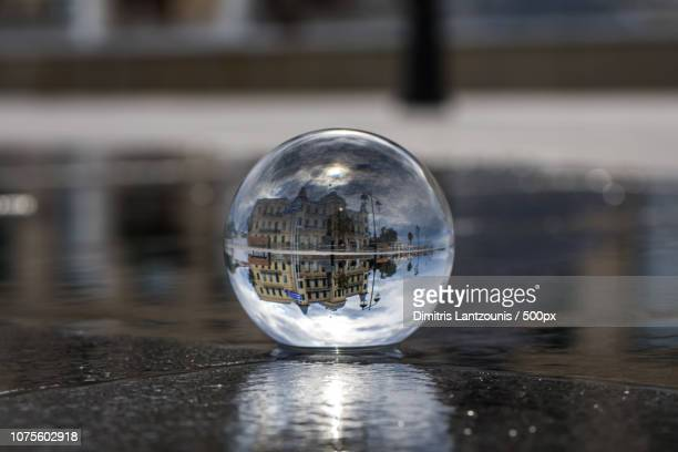 posidonion in a glass ball - spetses - spetses stock pictures, royalty-free photos & images