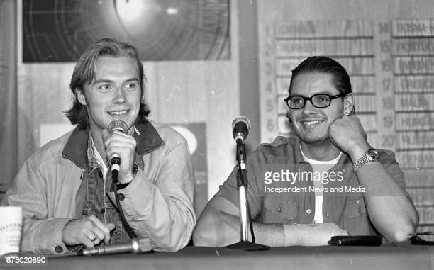 Posing for Photos at the Boyzone Press Conference at The Point Depot Dublin prior to their apperance on Eurovision 97 Ronan Keating and Keith Duffy