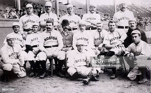 Posing in 1892 for their official team photo the Boston Beaneaters included Hall of Famers King Kelly middle row third from left Kid Nichols top row...