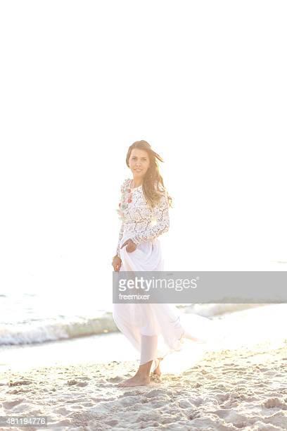 Posing on her wedding day