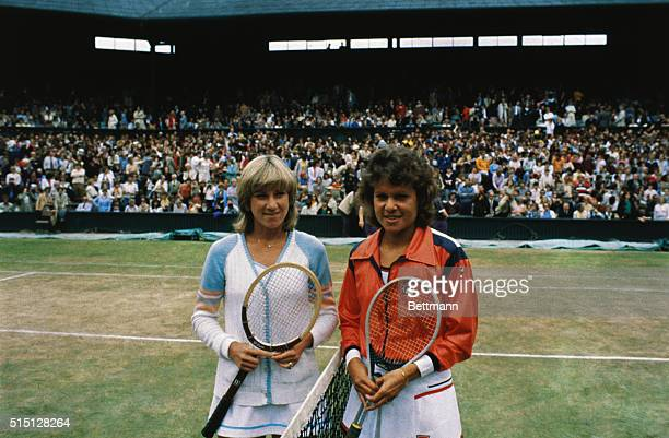 Posing on the day of the Ladies' Singles Final at the 1980 Wimbledon Championships are American Chris Evert Lloyd and Australian Evonne Goolagong...