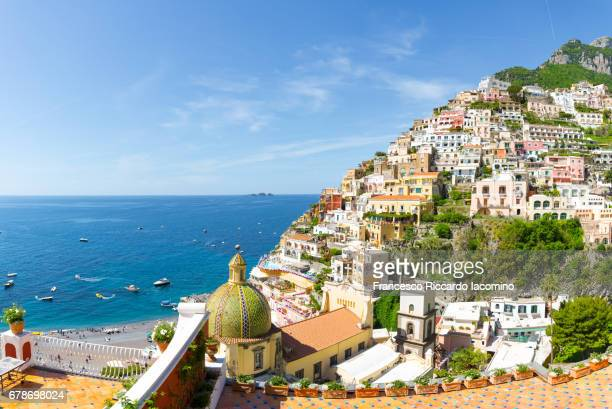 positano, amalfi coast, campania, sorrento, italy. - sorrento stock pictures, royalty-free photos & images