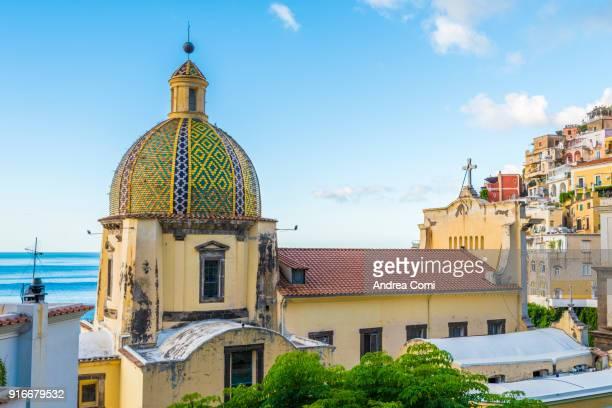 Positano, Amalfi coast, Salerno, Campania, Italy. View of Positano cathedral