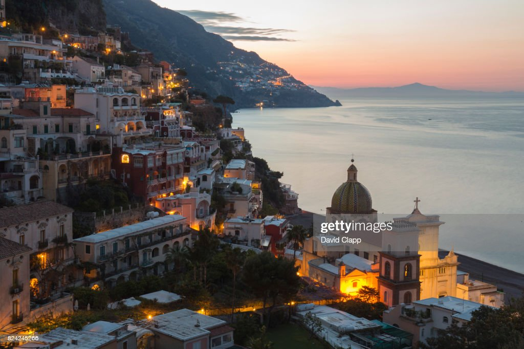 Positano at dusk, The Amalfi Coast, Italy : Stock Photo