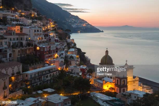 Positano at dusk, The Amalfi Coast, Italy