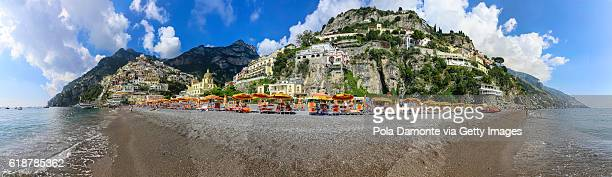 positano beach view from the mediterranean sea - sorrento italy stock pictures, royalty-free photos & images
