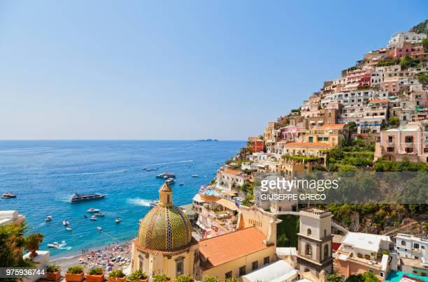 positano city on hill and seascape, positano, italy - アマルフィ海岸 ストックフォトと画像