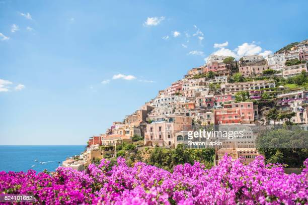 Positano framed by pink bougainvillea